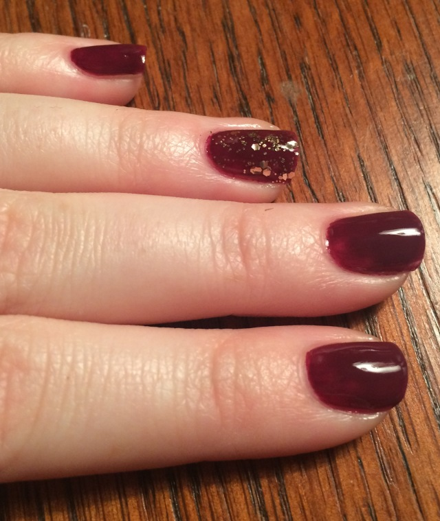 Burgundy and Gold nails. Essie Recessionista.