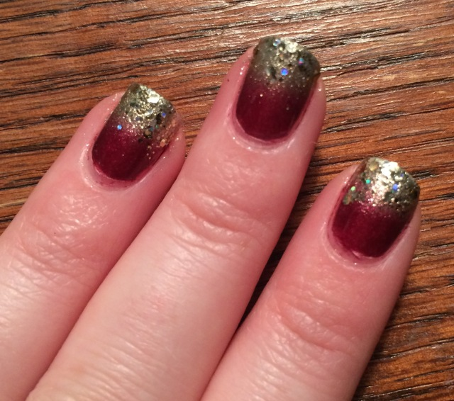red and gold nail gradient